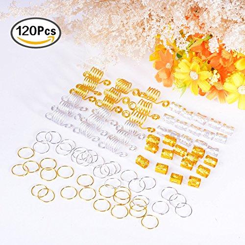 BBTO 120 Pieces Aluminum Hair Coil Dreadlocks Hair Braid Rings Dreadlocks Metal Hair Cuffs Hair Braiding Beads for Hair Accessory (Gold and Silver)
