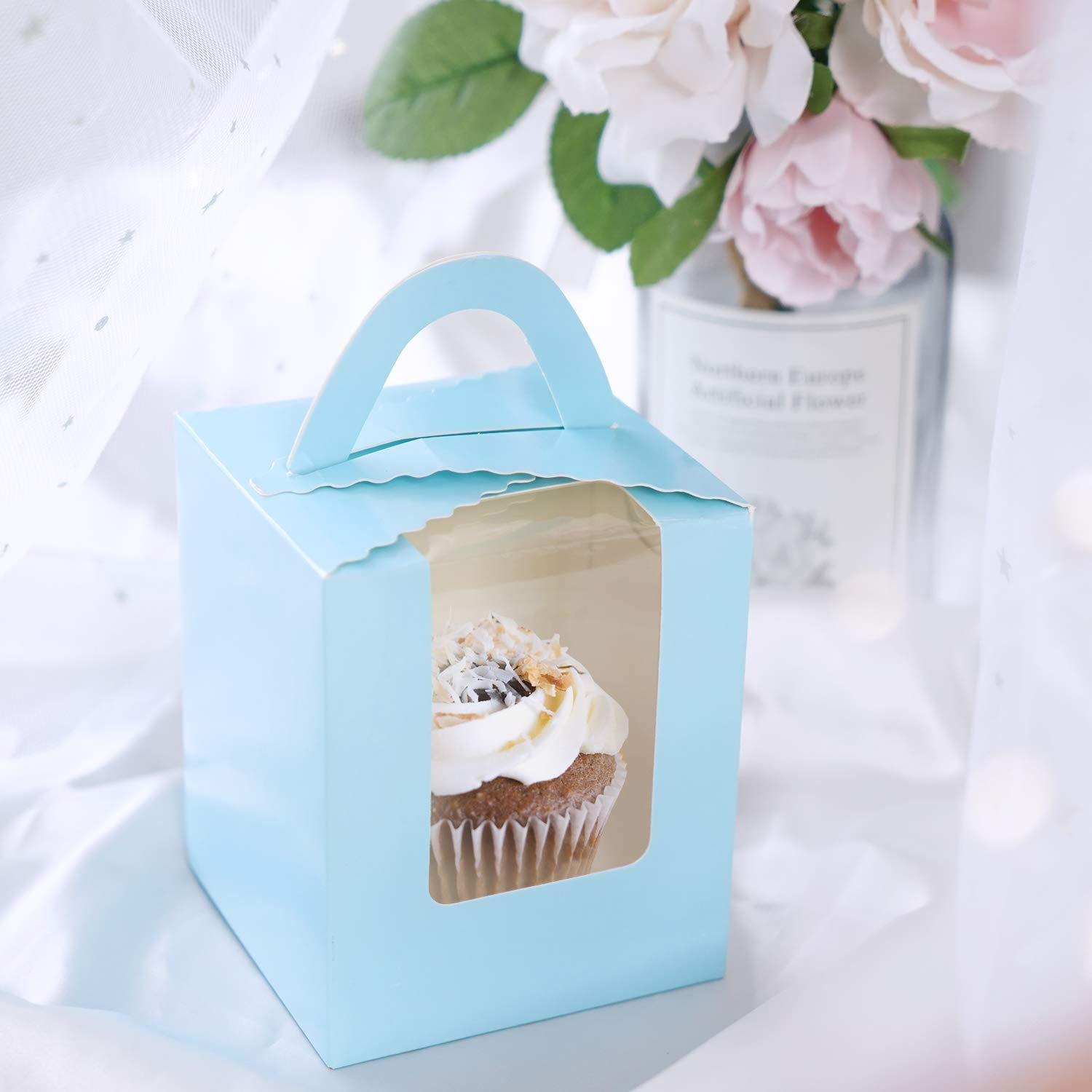 50pcs Single Cupcake Boxes,Eusoar Portable Single Individual Paper Cupcake Holder Containers,Muffin Gift Boxes with Window Inserts Handle for Wedding Birthday Party Candy Boxes Family Treats