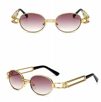 Punk-Sonnenbrille-Art und Weise Runde Kasten-Klassische Metallpunkdampf-Retro- Sonnenbrille , Goldrahmen Doppelt Grau Blatt