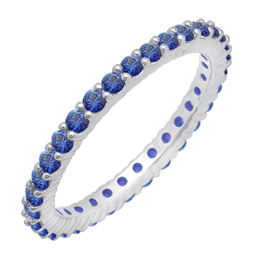 1.00 Carat (ctw) 14k White Gold Blue Sapphire Ladies Eternity Stackable Wedding Band 1 CT (Size 7)