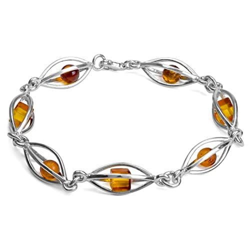 Amber Sterling Silver Millennium Collection Marquise-shaped Modern Bracelet 8