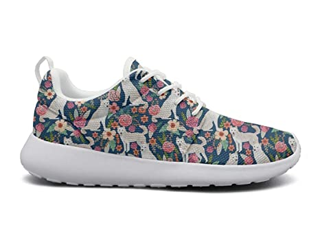 XULANG Custom Sneaker White Jindo Dog Flowers Pattern Sneakers Shoes for  Woman 01ce674d2