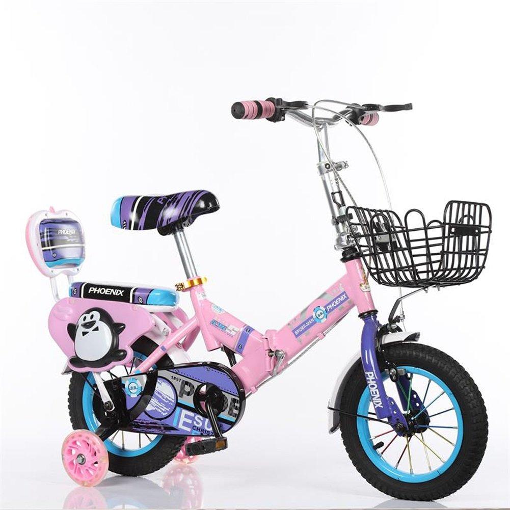 完璧 CHS@ 折りたたみ式子供用自転車2-4-6-8歳の自転車バイク12 :/14 サイズ/16/18インチ赤ちゃんのキャリッジボーイズの少女サイクリングフラッシュ補助ホイール 子ども用自転車 (色 : CHS@ Pink, サイズ さいず : 14