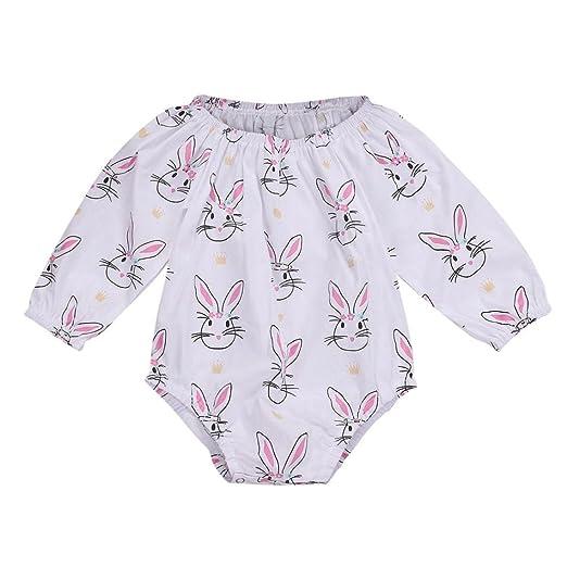 15910b32c59b Winsummer Infant Baby Girls Long Sleeve Easter Cartoon Rabbit Print Romper  Jumpsuit Playsuit Outfits (Pink