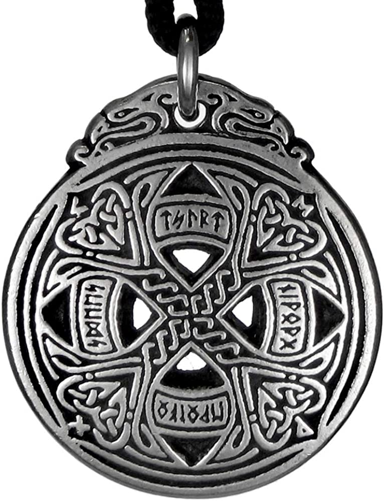 Men Women Celtic Knot Iron Cross Silver Tone Pewter Pendant with Necklace P263