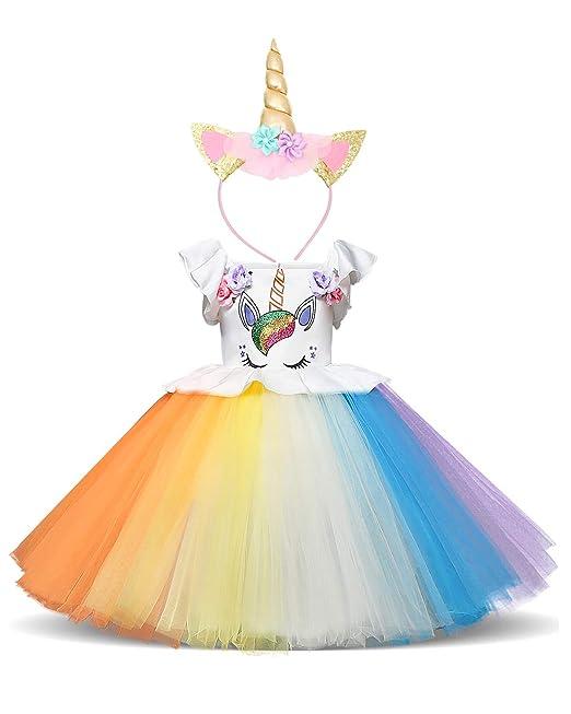 NNJXD, Chicas, Unicornio, Tulle, Arco Iris, Cumpleaños, Fiesta De Cosplay, Elegante, Flor, Vestido De Princesa
