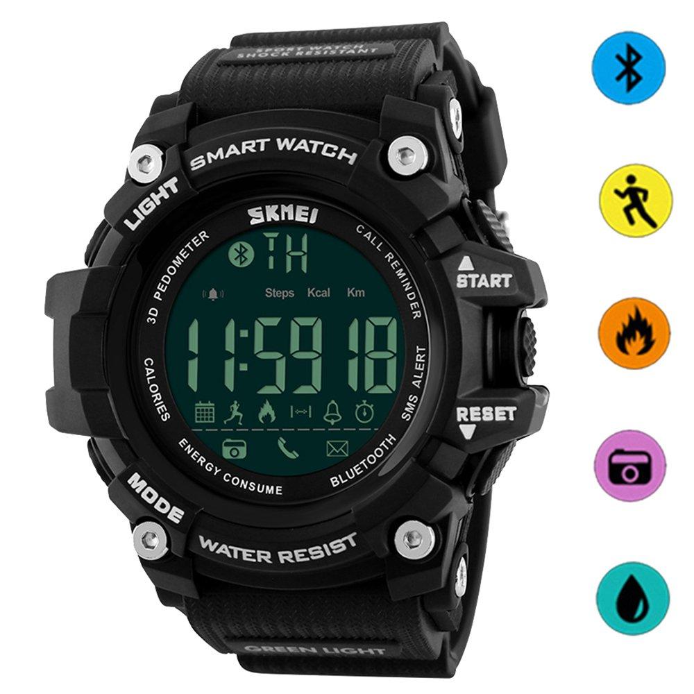 9a9974359690e6 SKMEI Bluetooth Pedometer Calories Smart Watch LED Backlight Remote Camera  Digital Sport Waterproof Watch (Black): Amazon.co.uk: Watches