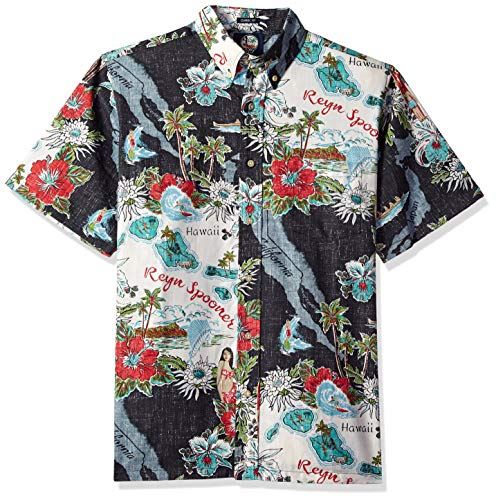 28c162261 Reyn Spooner Men's Status Oceanic Spooner Kloth Classic Fit Hawaiian Shirt,  Black, ...
