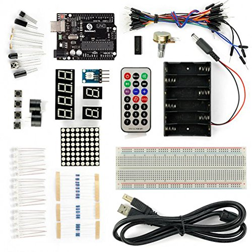 SainSmart Basic UNO R3 Starter Kit, Breadboard, Remote Controller, RGB LEDs Accessories, PDF Tutorials for Arduino Robotics DIY