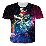 RAISEVERN Unisex 3d Print Funny Mens Short Sleeve Shark On Cat Rainbow T-Shirts Multicoloured,2018 Style Galaxy Cat,XX-Large