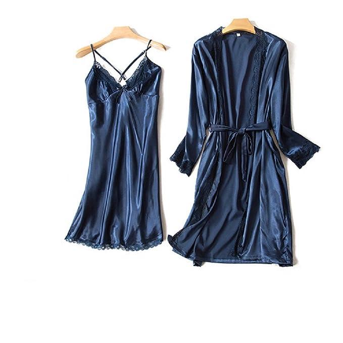 Ellse Bata De Seda Primavera Comodidad Seda Señora Seda Tirantes Pijamas Traje De Dos Piezas: Amazon.es: Ropa y accesorios