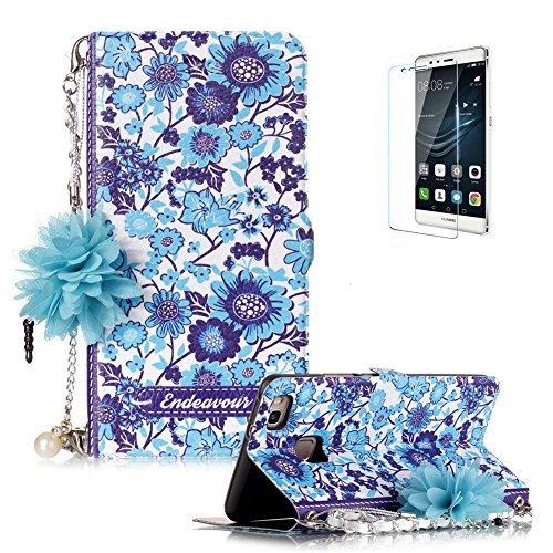 Huawei P9 Lite Case Funyye Fashion  Portable Chain  Phone Case Elegant Floral Lady Handbag Design Folio Pu Leather Wallet Book Type Shockproof Protection Case For Huawei P9 Lite Blue White