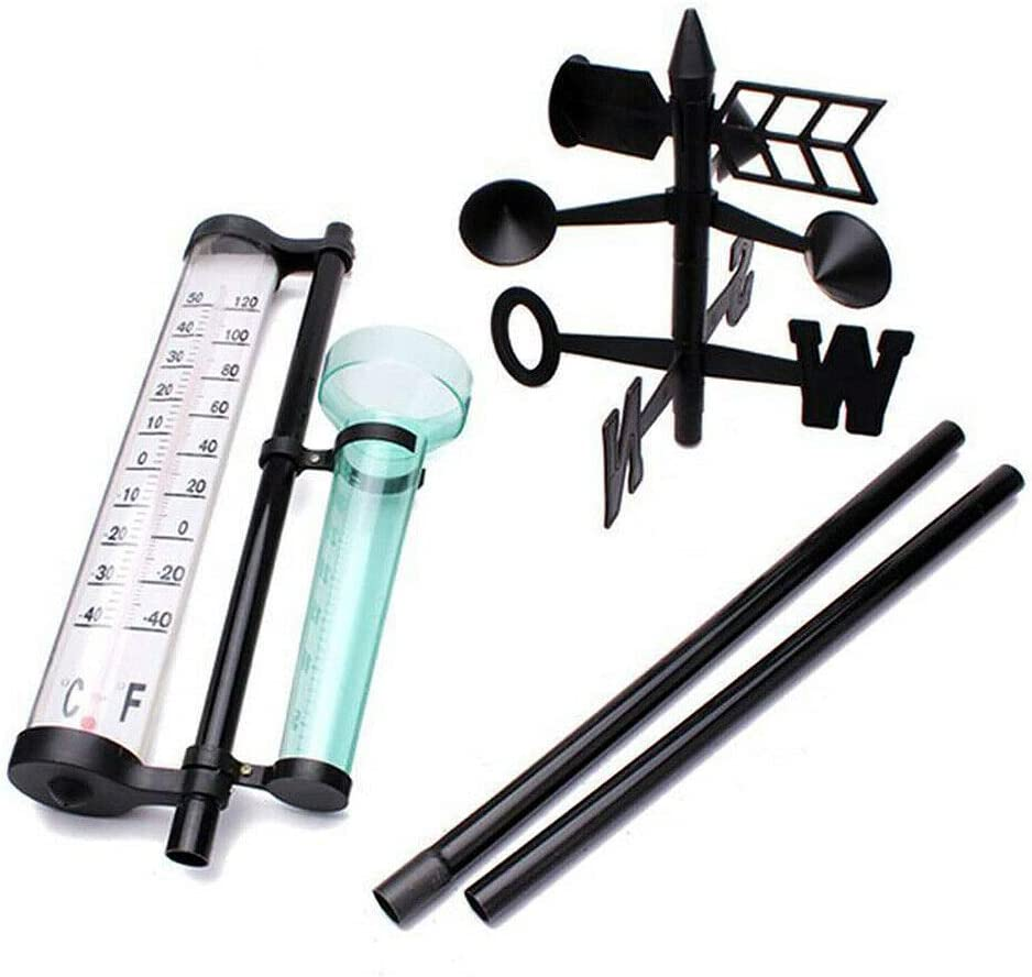 FZAY Weather Station Garden Weather Station Meteorological Measurer Vanes Tool Wind Rain Gauge Thermometer Keep Track of The Weather Day and Night