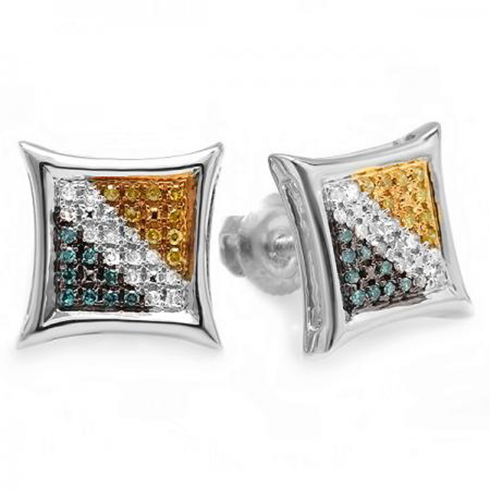 0.15 Carat (ctw) Sterling Silver Blue, White, & Yellow Round Diamond Micro Pave Setting Kite Shape Stud Earrings