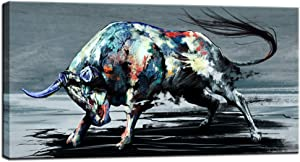sechars - Cool Animal Canvas Wall Art Fighting Bull Painting for Living Room Home Office Farmhouse Decor Wildlife Canvas Artwork for West Cowboy Gallery Wrap Ready to Hang