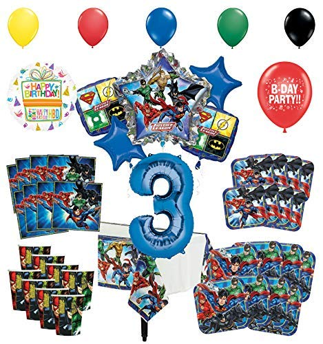 Justice League 3rd Birthday Party Supplies 8 Guest Entertainment kit and Superhero Balloon Bouquet Decorations (Justice Bouquet League Balloon)