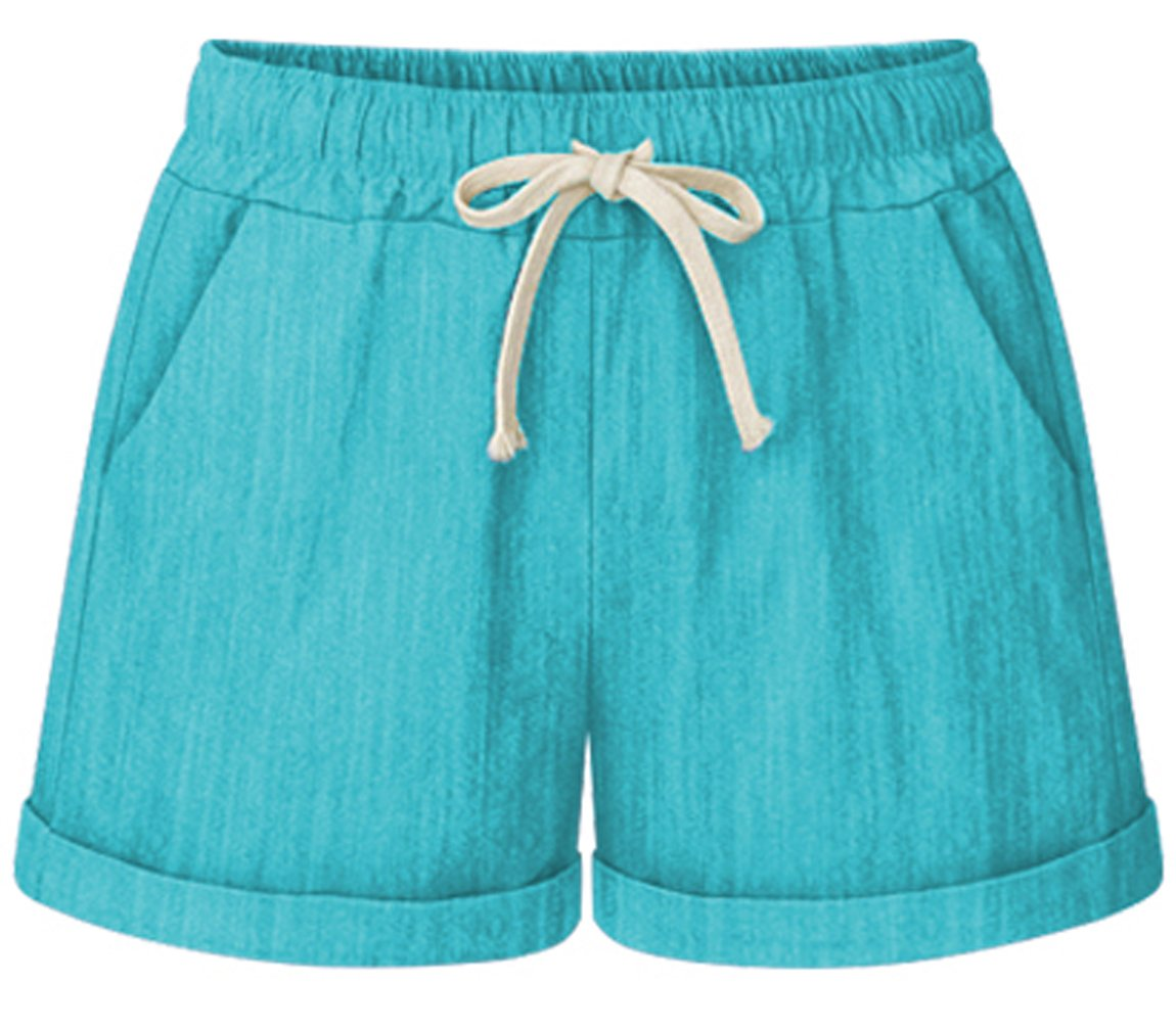 HOW'ON Women's Elastic Waist Casual Comfy Cotton Linen Beach Shorts with Drawstring Turquoise XL