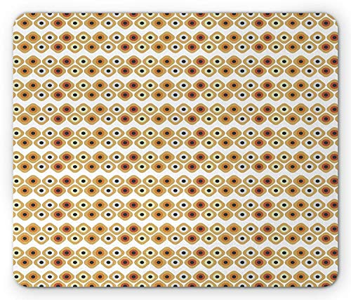 (Abstract Mouse Pad, Horizontal Lines of Dice Style Cubical Forms Dots Rounded Squares Button Like, Standard Size Rectangle Non-Slip Rubber Mousepad, Cream Amber Red,9.8 x 11.8 x 0.118 Inches)
