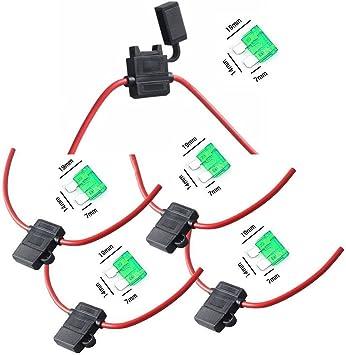 ESUPPORT 12 Gauge ATC Fuse Holder Box In-Line AWG Wire Copper 12V 30A Blade Standard Plug Socket Pack of 10