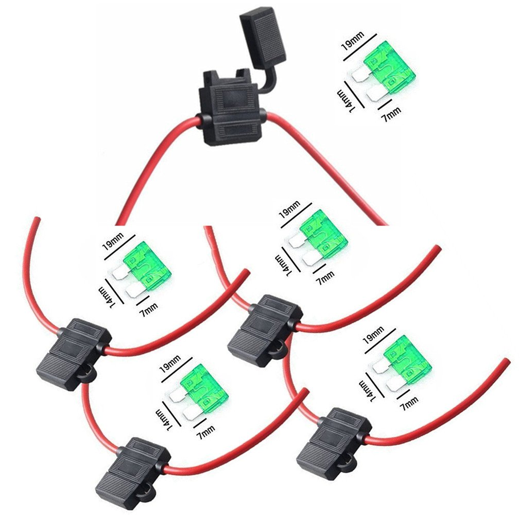 Amazon.com: Qiorange 12 Gauge ATC Fuse Holder Box In-Line AWG Wire Copper  Blade Standard Plug Socket 12V 30A (5-Pack): Automotive
