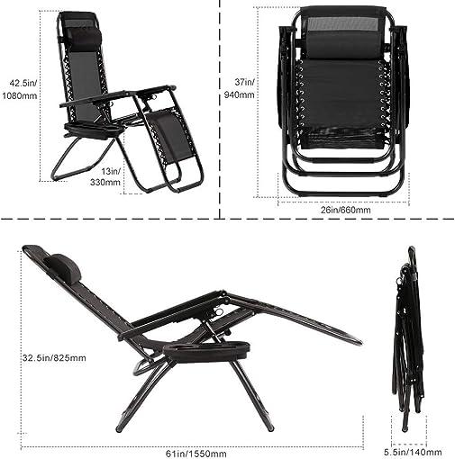 Vnewone Zero Gravity Patio Folding Anti Reclining Lounge Deck Foldable Yard