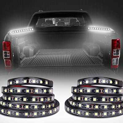 "VANJING 2PCS 60"" White LED Light Strip Kit for Truck Bed Cargo Boat Pickup RV SUV Waterproof Lighting Kit Tailgate Light 12v with On-off Switch (White): Automotive"