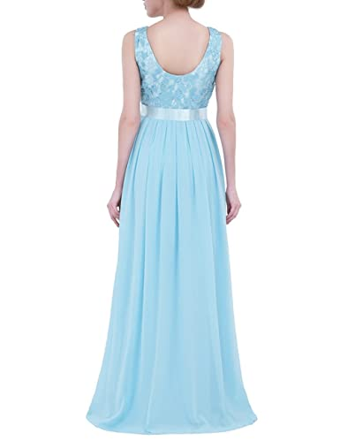 YIZYIF Vestido de Elegante Mujer de Fiesta Largo Chiffón Bordado Encaje Vestido de Dama para Boda Vestido Cóctel Vestido de Gasa para Mujeres: Amazon.es: ...