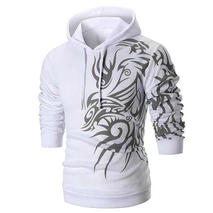 ♚Sudadera con Capucha Hombre,Camiseta de Manga Larga Estampada con Capucha Top Outwear Blouse