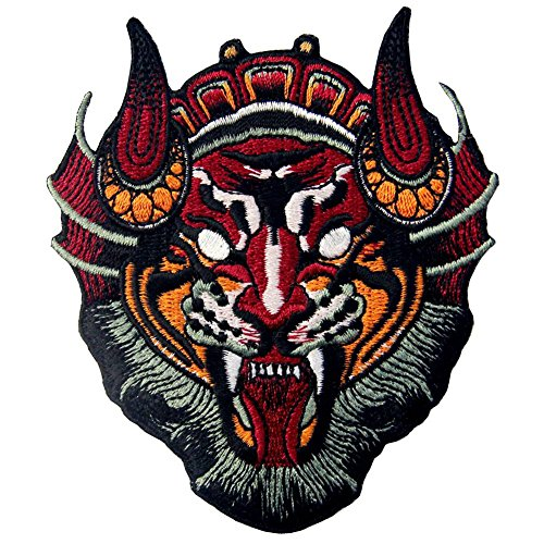 Chinese Monster Lion Mask Patch Embroidered Applique Iron On Sew On Emblem