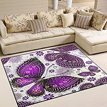 Amazon Com Alaza Spring Purple Butterfly Area Rug Rugs