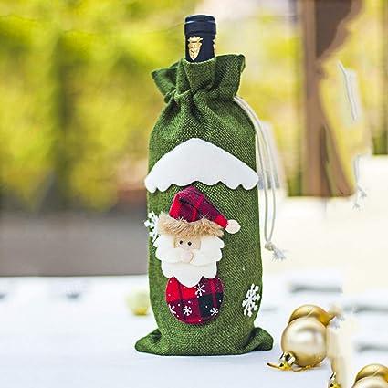 PeiXuan2019 Cubiertas de Botellas de Vino Tinto de Navidad Vajilla Decoración de Mesa Adornos Decoración Navidad
