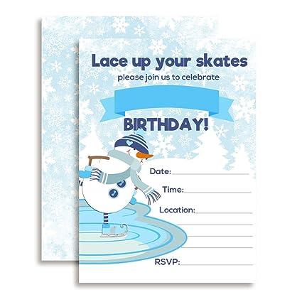 amazon com snowman ice skating birthday party invitations ten 5 x7
