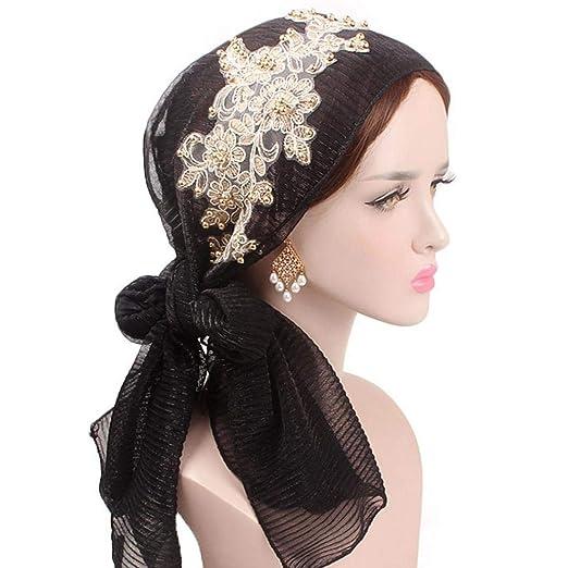 b6621f10a34 Muranba Women Retro Flower Turban Scarf Cap Head Wrap Bow Hat (Black ...