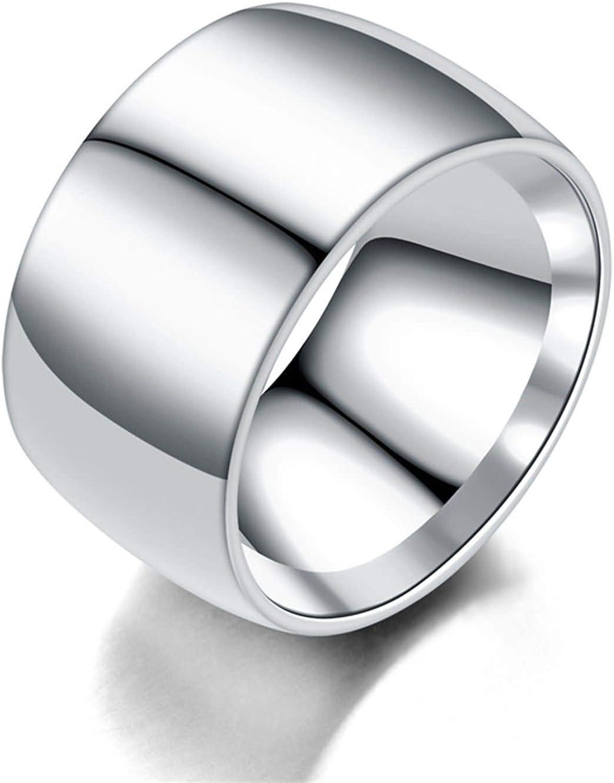 NA Anello da Uomo in Acciaio Inossidabile Anello a Fascia 12MM Tondo Lucido Anelli di Fidanzamento da Uomo Argento