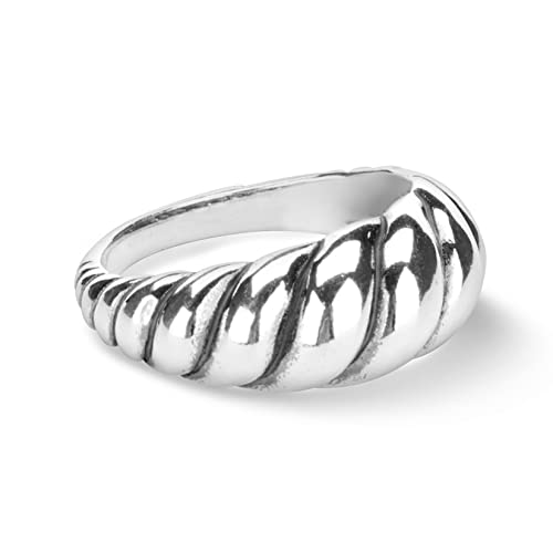 Jewellery & Watches Other Rings Confident Elegant Rope Design Oxidized Sterling Silver Stackable Band Ring