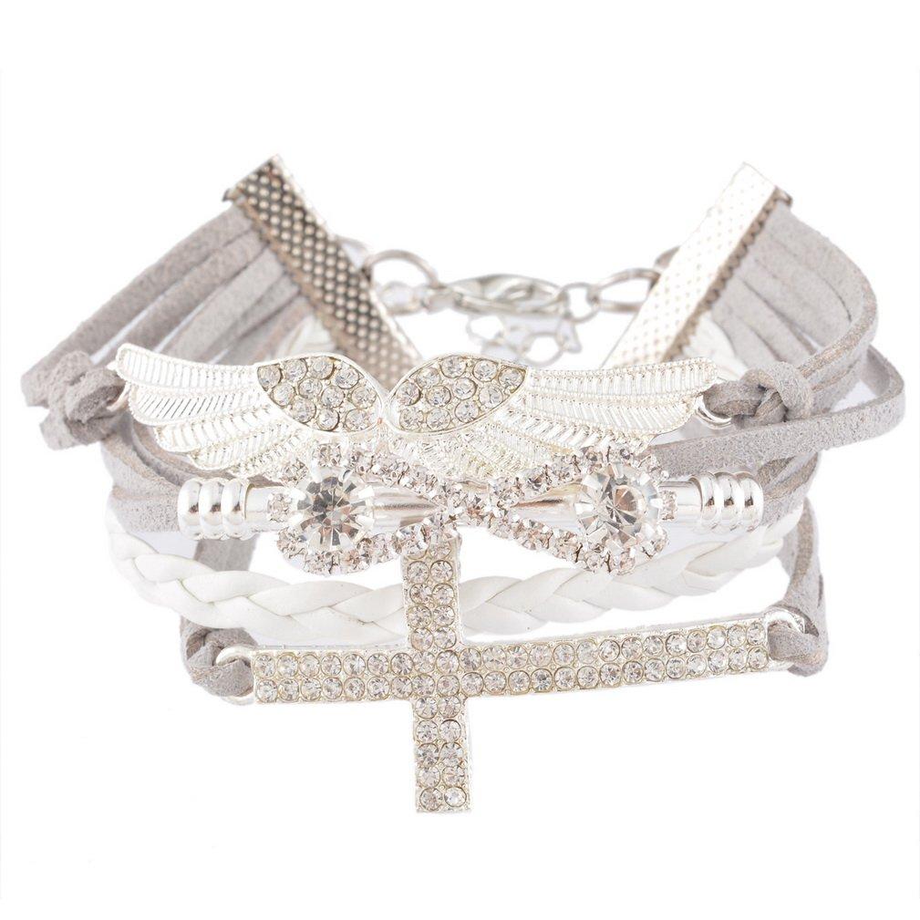 Souarts Handmade Braided Multilayer Cross Angel Wing Velvet Wristband Friendship Bracelet Grey