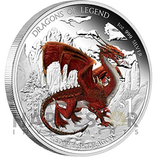 2012 Tuvalu Dragons of Legend Series - Red Welsh Dragon $1 Brilliant Uncirculated