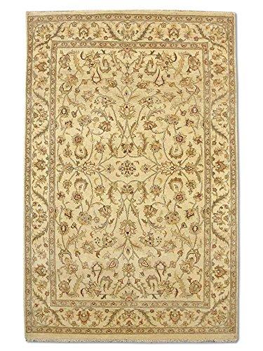 Traditional Persian Chobi Handmade Sultanabad Rug, Wool, Cream, 4' 4