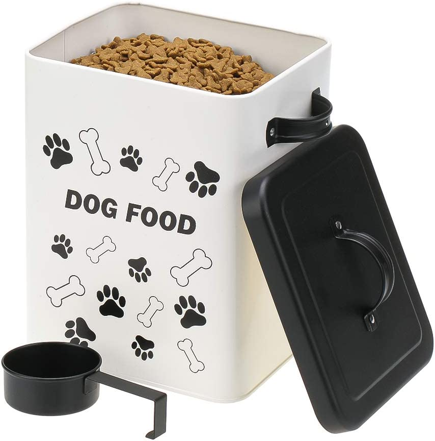 KOOLTAIL Dog Food Storage Container - with Scoop Set, Steel Sealed Cute Pet Food Treat Storage Bin for Small Dogs, Cats, Food Dry Fresh, Moisture Proof Rust-Proof and Long-Stem Storage