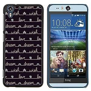 Eason Shop / Premium SLIM PC / Aliminium Casa Carcasa Funda Case Bandera Cover - Estrellas de escritura Negro - For HTC Desire Eye ( M910x )