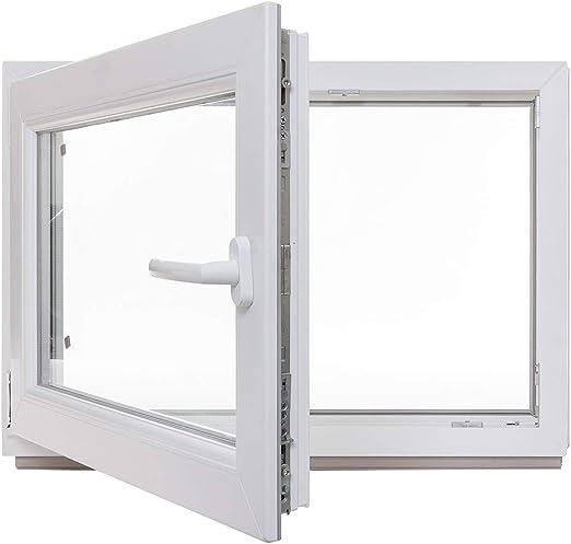 wei/ß Kellerfenster Kunststoff Fenster BxH: 105 x 60 cm 3-fach-Verglasung Lagerware DIN links