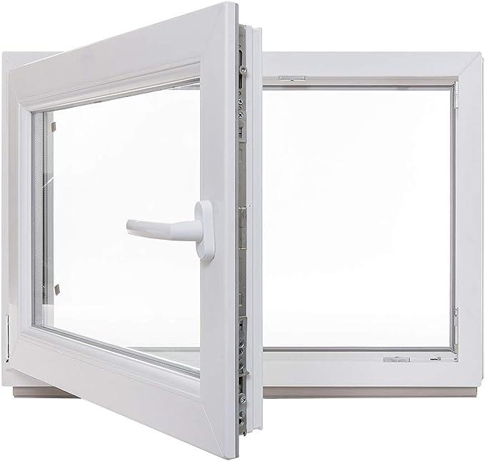 DIN Rechts 1000 x 600 mm 60 mm Profil 2 fach Verglasung Fenster Kunststoff Kellerfenster innen wei/ß//au/ßen nussbaum BxH: 100 x 60 cm