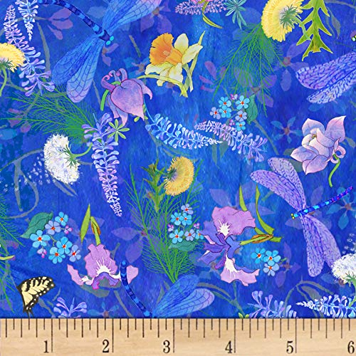 P & B Textiles Nature's Floral & Dragonfly Fabric, Blue, Fabric By The Yard