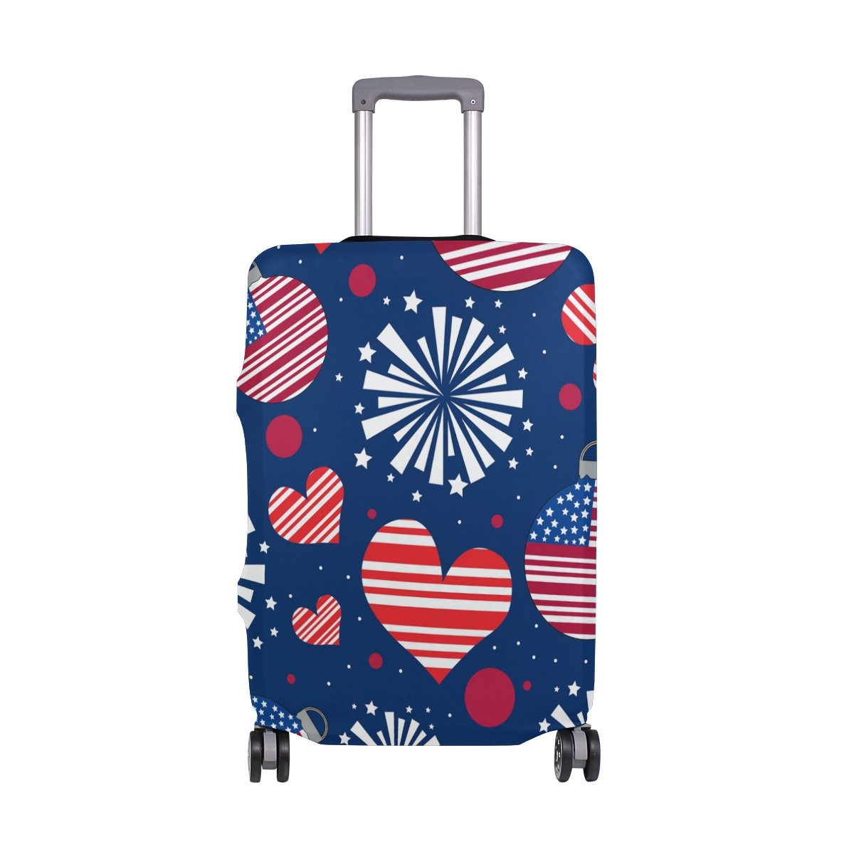 American USA Heart Love Striped Stars Red Navy Suitcase Luggage Cover Protector for Travel Kids Men Women by ALAZA (Image #1)