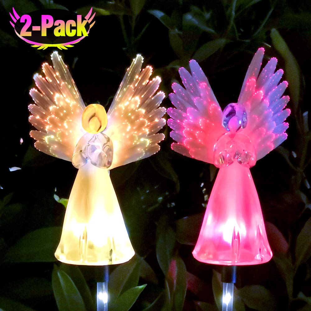 Qualife Solar Angel Lights Outdoor, Solar Powered Decorative Light for Garden Decorations Yard Art Housewarming Gifts, 2 Pack.