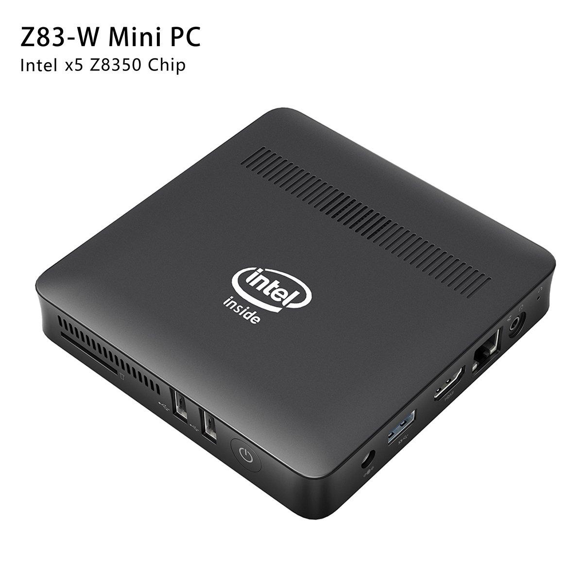 Z83-W Fanless Mini PC Desktop, Windows 10 64-bit Intel x5-Z8350 (Up To 1.92 GHz) HD Graphics, DDR3L 2GB/ 32GB eMMC/ 4K/ 1000M LAN/ 2.4/5.8GHz WiFi/ BT 4.0 [Dual Output - VGA/HDMI]