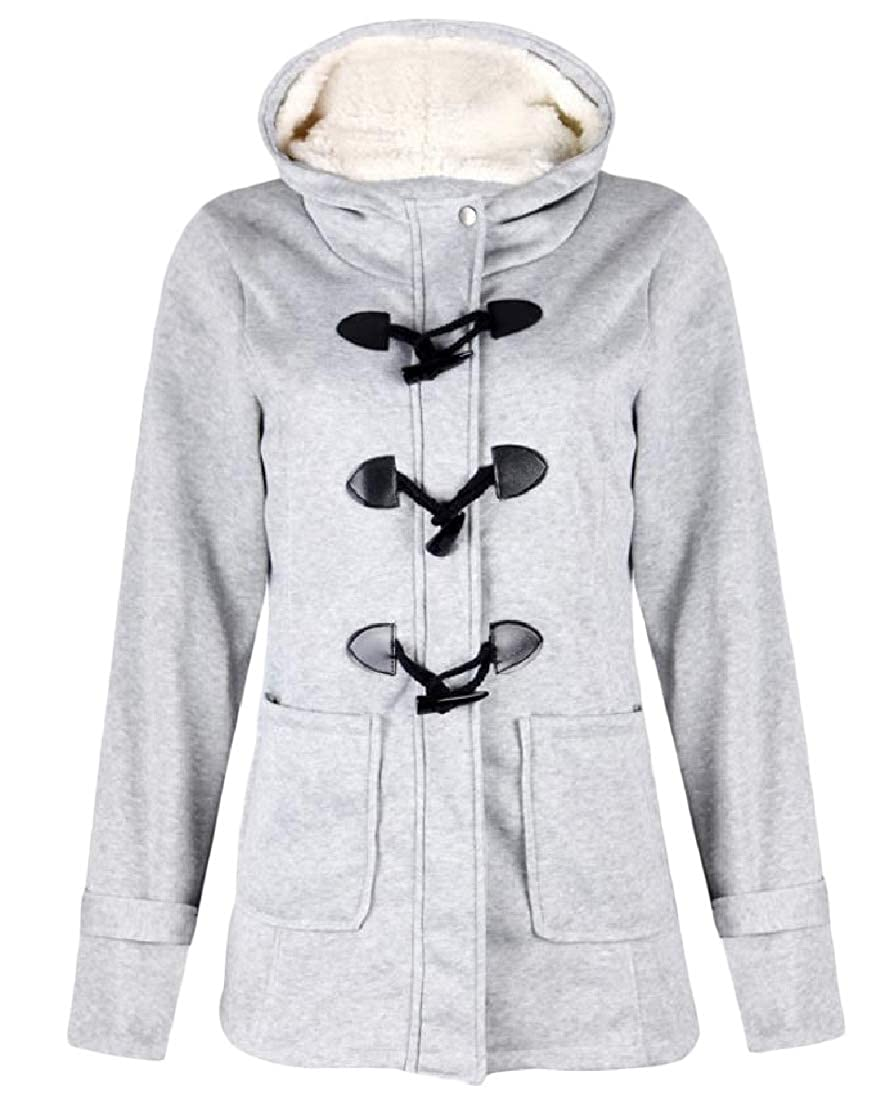 YUNY Womens Over Sized Hood Pocketed Plus Velvet Stylish Thickened Outwear Coat Light Grey XS