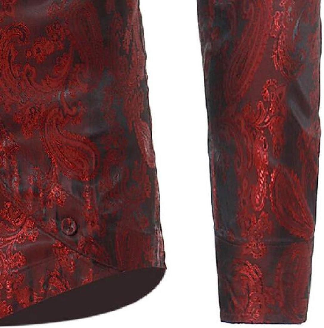 UUYUK Men Shirts Button Down Irregular Long Sleeve Casual Printing Shirt Top