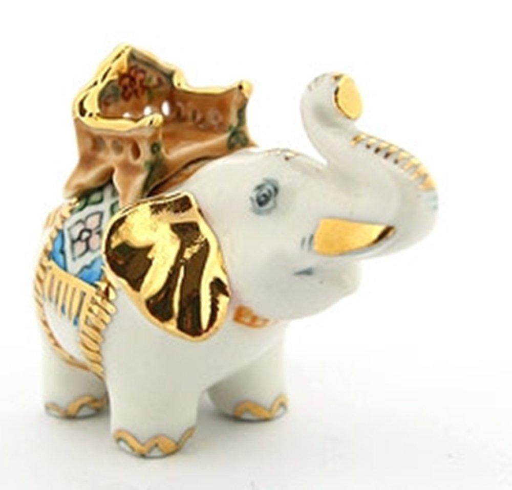 Dollhouse Miniatures Ceramic White Warrior Elephant FIGURINE Animals Decor