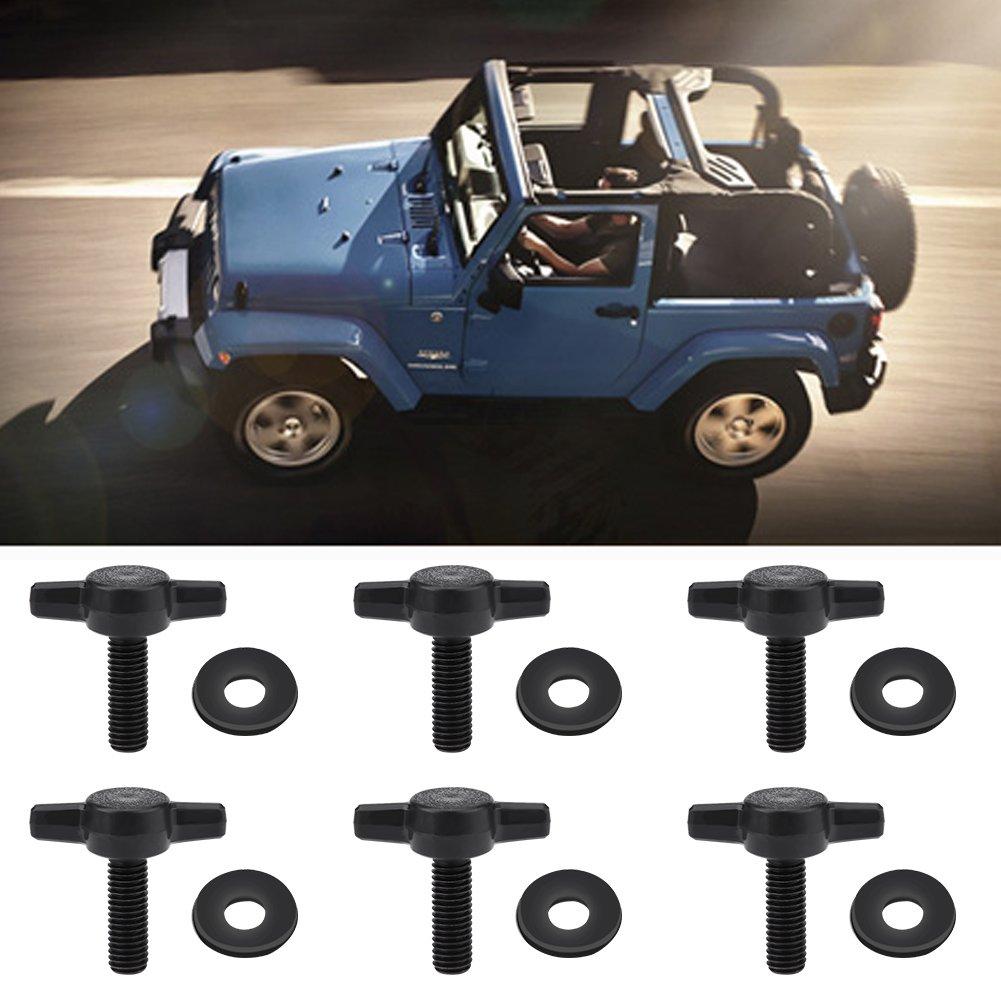 Hard Top Thumb Screws 6Pcs Universal Hard Top Fasteners Thumb Screws Nuts Bolts Kit with Washers for Jeep Wrangler YJ TJ JK JKU Sports Sahara Freedom Rubicon X /& Unlimited X 2//4 Door 1995-2017